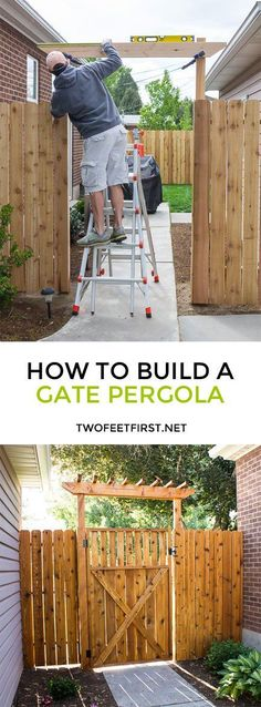 Update your fence by adding a pergola over a gate. Do you want to update your fence? How about adding a pergola to the gate? Here is how we built a fence pergola for our gate. Wooden Pergola, Backyard Pergola, Diy Patio, Cheap Pergola, Pergola Roof, Fenced In Backyard Ideas, Backyard Gates, Garden Gates And Fencing, Wooden Trellis
