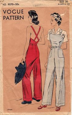 Vintage sewing pattern, Vogue 9070; ca. 1941; Overalls