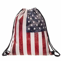 Egmy Hot 2016 Fashion Women Men American Flag Printed Drawstring Pouch Backpack Shoulder Bag Black * Read more  at the image link.
