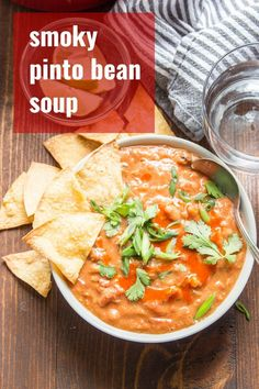 This Mexican-inspired pinto bean soup is creamy, packed with flavor, and hearty enough for a meal! Bonus: it's super easy to make and cooks up in one pot, making it perfect for weeknight dinners. Vegan, vegarian, and gluten-free! #veganrecipes #pintobeans #vegansoup