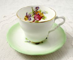 Royal Stafford Green Fade Tea Cup and Saucer with Floral Bouquet, Vintage Bone China