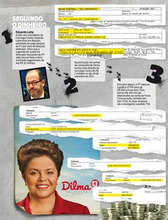 """O rastro da propina da campanha de Dilma... """"Levantamento nas contas da presidente mostra relação entre pagamentos de propina e remessas de dinheiro do PT para empresas de fachada. Notas subfaturadas também serviram para fraudar o custo oficial da eleição""""."""