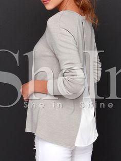 Grey Long Sleeve Unique Color Block T-Shirt 11.99