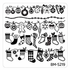 Christmas Themed Nail Art Stamping Plates - Occasions Collection, BM-S219: Hung With Care