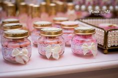 Wedding Candy, Diy Wedding Favors, Party Favors, Baby Shower Elegante, Shabby Chic Baby Shower, Baby Girl Baptism, Baptism Party, Jar Crafts, Diy And Crafts