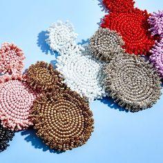 "BaubleBar on Instagram: ""What color should come next? #BaubleBar"" Women's Earrings, Crochet Earrings, Dress Stand, Vintage Brooches, Vintage Prints, Vintage Ladies, Anthropologie, Beads, Crystals"