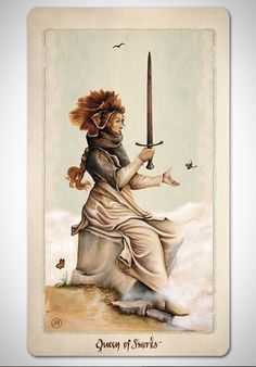 PAGAN OTHERWORLS tarot deck of cards by UUSI.  Queen of Swords