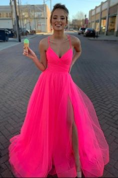 Buy Spaghetti Straps Tulle Prom Dress, Simple Floor Length V Neck Split Party Dresses Shop short long ombre prom, homecoming, bridesmaid evening dresses at Couture Candy Cocktail party dresses, formal ball gowns in ombre colors. Homecoming Dresses Long, Pink Prom Dresses, Tulle Prom Dress, Grad Dresses, Lace Evening Dresses, Wedding Party Dresses, Pretty Dresses, Winter Prom Dresses, Short Prom