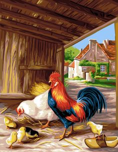 Royal Paris Needlepoint Le Poulailler (Chicken Coop or Henhouse) by Noel Romero, Medium, Royal Paris Needlepoint Le Poulailler (Chicken Coop) by Noel Romero Rooster Painting, Rooster Art, Chicken Painting, Chicken Art, Farm Animals, Animals And Pets, Arte Do Galo, Farm Art, Chickens And Roosters