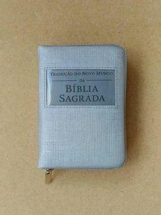 Capa Bíblia com zíper cinza linho