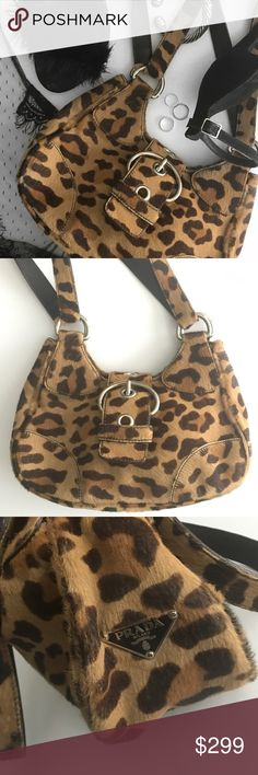 Prada Leopard  Bag 100% authentic Prada bag. Purchased in the early 2000's and hardly worn. From the horsehair leopard collection. Notice a slight wear of the hair over underneath the buckle. Prada emblem on the side of the back as well as on the inside.   From end to end: 10 inches From bottom to top: 7 inches   * I love offers + offers on bundles * 25% off bundles * Smoke + pet free environment  ✨Check out my Insta @mintysnap for styling tips! Prada Bags Shoulder Bags