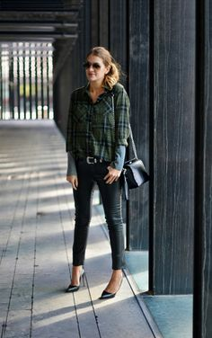 plaid shirt + leather pants. Layering