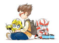 Transformers Prime Gif.... Idk what's better.... baby bumblebee staring intently at the computer screen.... or baby ratchet stocking up raf with energon in case he gets hungry.... ^.^