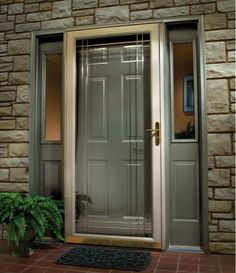 Stunning Front Door Designs with Contemporary Decoration : Front Door Design In Grey Combined With Clear Glass Door Applying Golden Lever