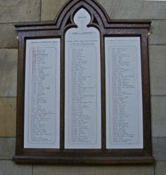 WW1 Roll of Honour Wentworth Church