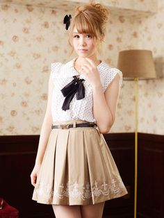 polka dot blouse with bow and skirt with belt, japanese fashion Ank Rouge A/W 2013 Collection