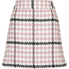 TopShop Check Mini Skirt (€22) ❤ liked on Polyvore featuring skirts, mini skirts, bottoms, saias, pink, high waisted mini skirt, mini skirt, short skirts, white short skirt and high waist skirt