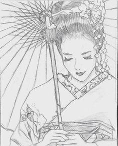 Memoirs of a Geisha by Ninchu on DeviantArt Japanese Drawings, Japanese Artwork, Japanese Prints, Geisha Drawing, Geisha Art, Memoirs Of A Geisha, Black And White Drawing, Oriental, Doodle Art