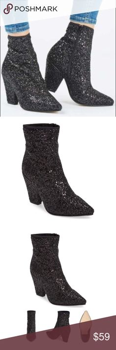 "⚡️NWOT⚡️TOPSHOP Glitter Boots New (NWOT) TOPSHOP Black metallic sparkly glitter booties with mini sequins. Pointed toe. Heel height: 3.5"", Shaft: 5"". Side Zip. UK 39 which TOPSHOP converts to a US 8.5. These babies are showstoppers! ✨OFFERS WELCOME✨ Topshop Shoes Ankle Boots & Booties"