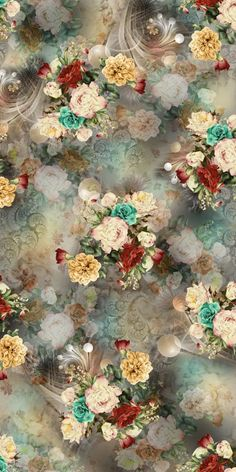 New wall paper vintage floral iphone Ideas Floral Wallpaper Iphone, Flower Background Wallpaper, Cellphone Wallpaper, Beautiful Flowers Wallpapers, Beautiful Nature Wallpaper, Floral Flowers, Flower Art, Fabric Print Design, Watercolor Flowers