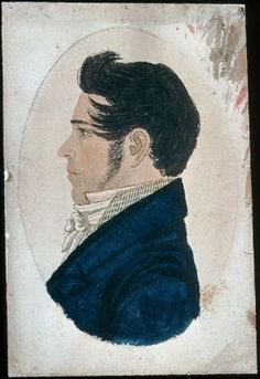 Watercolor drawing of John David Minot by Rufus Porter circa 1816-25