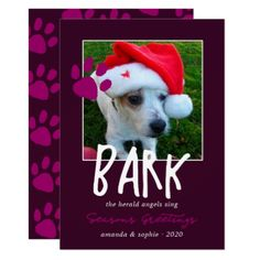 Handwriting overlay Dog Christmas Greetings photo Card - diy cyo customize personalize design