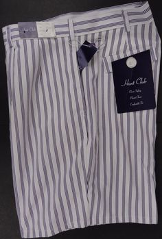 "NWT Hunt Club JCPenney Mens 38"" Waist Pleated Shorts White Purple Striped Chino #HuntClubJCPenney #KhakisChinos"