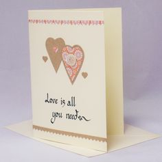 Valentine heart card, valentine  card, wedding card, anniversary card,valentine gift,heart card,love is all you need card, love heart card by QuillPaperScissors on Etsy