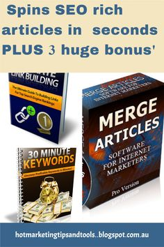 This content spiinner will spin SEO compliant,, unique articles in seconds. It spins readable content and is a high quality software. The three bonus ofers makes it irresistable- that's why I bought it. #PLR #articlespinner #contentwriter #SEO #uniquecontent #bloggers #writerstool Marketing Tools, Business Marketing, Make Money Blogging, How To Make Money, Affiliate Marketing, Online Marketing, Video Advertising, Cool Writing, Seo Tips