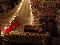 66 Inspiring ideas for Christmas lights in the bedroom: wanna do this for Miguel when he is ready for his new bed!