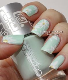 Subtle floral nail art on pastel mint - Marias Nail Art and Polish Blog