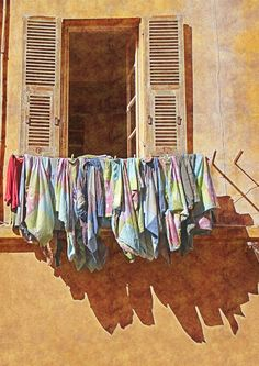 Nice, France…….THIS SAME THING IS THE CUSTOM IN SPAIN……WE HUNG ALL OUR CLOTHES OUTSIDE LIKE THIS………..ccp