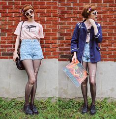 Rock Me Amadeus Tee, Custom Made, American Apparel High Waisted Jean Shorts, Thrifted Shoes, Diy'd Ring