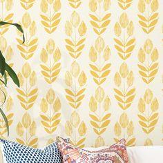 "Ladwig Scandinavian Block Tulip Floral 33' x 20.5"" Wallpaper Roll | Joss & Main Brick Wallpaper, Wallpaper Panels, Wallpaper Roll, Peel And Stick Wallpaper, Wallpaper Ideas, Kitchen Wallpaper Accent Wall, Kitchen Wallpaper Design, Funky Wallpaper, Painted Wallpaper"