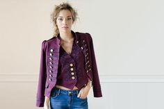 Condesa Beatle Granate Burgundy military inspired jacket and waiscoat Gold buttons