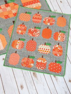 "Pattern ""Mini Pumpkins Quilt"" by Cluck Cluck Sew Sewing Card Pattern Pumpkin Quilt Pattern, Mini Quilt Patterns, Quilting Patterns, Sewing Patterns, Rug Patterns, Block Patterns, Halloween Quilts, Cluck Cluck Sew, Fall Sewing"