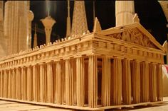 Contemporary art masterpieces of toothpicks by Stan Munro. Ideas for creative Toothpick Sculpture, Toothpick Crafts, Popsicle Stick Art, Pick Art, Beautiful Architecture, Lego Architecture, Craft Stick Crafts, Wood Crafts, Wood Sculpture