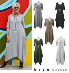 BRYN WALKER Heathered Jersey  CHELSEA DRESS Drape Long  XS S M L XL 2016 COLORS in Clothing, Shoes & Accessories, Women's Clothing, Dresses | eBay