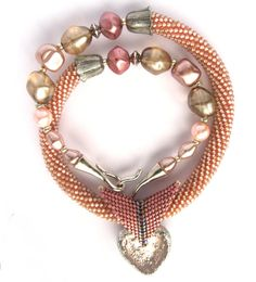 """Bead Crochet Necklace """"Rose ise"""", could be done also"""