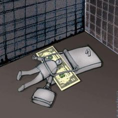 The money trap. Satire, Pictures With Deep Meaning, Art With Meaning, Meaningful Pictures, Powerful Pictures, Satirical Illustrations, Deep Art, Arte Obscura, Social Art