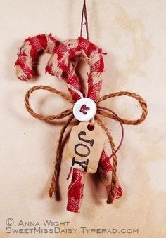 Country Candy Cane Ornaments  ~ wrapped in red gingham. AnnaWight0869web600