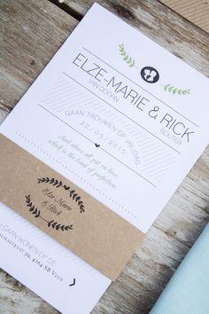 Trouwhuisstijl Rick en Elze-Marie - ontwerp door Leesign www.leesign.nl #trouwhuisstijl #stationary #wedding #whitewedding #leesign