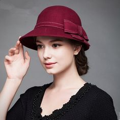 Winter bow cloche hat for women fashion trilby bowler hats