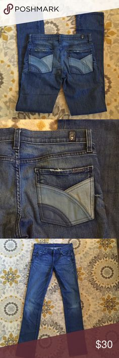 """7FAM Straight Leg Jeans Size 27 Great condition. Patchwork pockets. Long inseam great to either hem to the perfect length or roll  Features: 5 pockets, zip fly made of 98% cotton and 2% elastane In good, clean condition. From a nonsmoking home.  Measurements: Waist: 15"""" Hips: 16.5"""" Front rise: 7.5"""" Inseam: 35"""" 7 for all Mankind Jeans Straight Leg"""