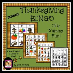 """Thanksgiving BINGO: """"YUMMY!""""  This fun game is a bit different than traditional BINGO. 2 board styles have no FREE spaces, no diagonals. This makes for a longer and more interesting game. Children must be flexible, pay close attention and be patient. """"YUMMY"""" is achieved by filling a whole row or column. Each time a child fills a row or column they call out a different Thanksgiving themed word. How many can you get?"""