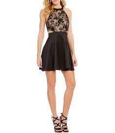 Xtraordinary Flocked-Bodice Skater Dress