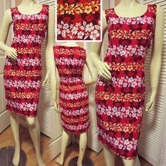 Women RED White Yellow HAWAIIAN HAWAII Hibiscus FLORAL FLOWERS Sheath DRESS 12 L #dress #dresses #women #woman #red #clothing #fashion #floral #Hawaiian #flowers