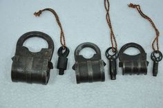 3 Pc Old Iron Unique Bag Shape Handcrafted Screw System Padlocks , Nice Patina