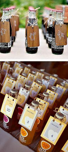 flavored soda or coke bottle wedding escort cards