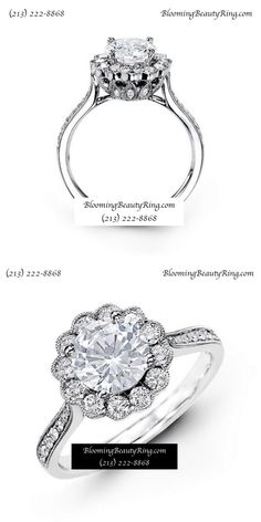 A Beautiful diamond engagement ring by BloomingBeautyRing.com #PrettyRing #UniqueRing (213) 222-8868